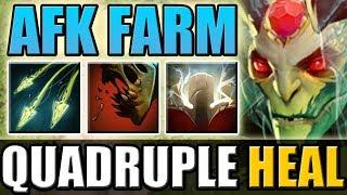 Quadruple Feast Heal with Split Shot [30 minutes AFK Farm] Dota 2 Ability Draft