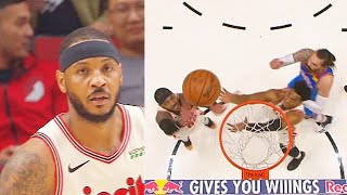 Carmelo Anthony Teaches Hassan Whiteside A Lesson For Trying To Get His Rebound! Thunder vs Blazers