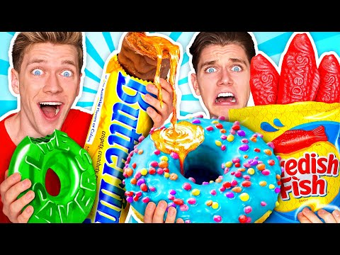 Making Giant Sour Candy!! How To Make The World's Largest DIY Real vs Gummy Food At Home Challenge