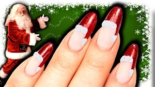 NO TOOLS SANTA HAT NAIL ART | DIY EASY CHRISTMAS NAILS | RED GLITTER NAILART