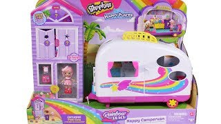 Shopkins Happy Places Rainbow Beach Happy Campervan Unboxing Toy Review