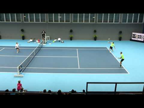Leander Paes and Matkowski point v Zimonjic and Pospisil Basel 2014