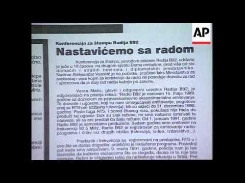 Serbia - B-92 radio station shut down