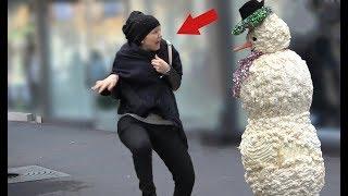 SCARY SNOWMAN PRANK 2018 - Hidden Camera Practical Joke