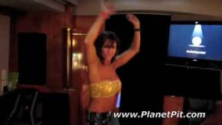 Pitbull Workout-Female trainer gets pumped on the tour bus!!