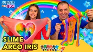 Hacemos ARCO IRIS DE SLIME. Rainbow Slime Challenge | ABY
