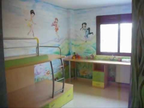 Murales infantiles la habitaci n de las hadas campanilla youtube - Murales pintados en la pared ...