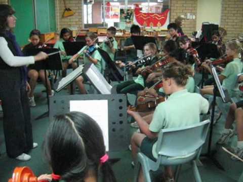 John Ryan's Polka played by the Oberthur Primary School String Ensemble under the direction of teacher Laurissa McCarthy and accompanied on piano by Rosemary...