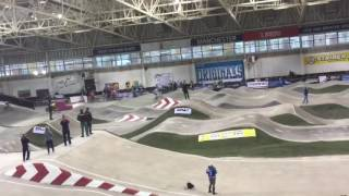 Quillian Isidore racing at indoor Falling off