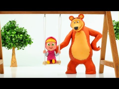 Masha And The Bear Play In The Playground - Play Doh Cartoons & More Stop Motion Videos