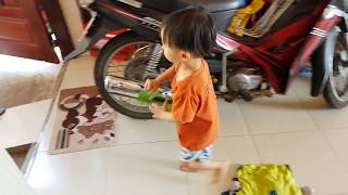Baby doing housework