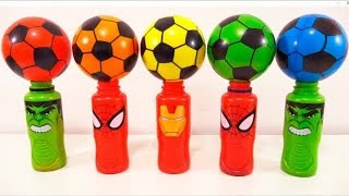Learn Colors with Magic Succer Balls  Surprise Toys Superhero Bottles For Kids Childrens Toddlers