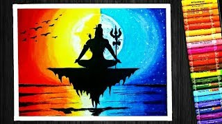 Oil Pastel Colorful Lord Shiva Sunset and Moonlight Scenery Drawing | for Beginners