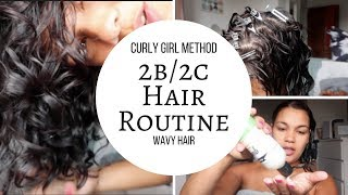 Curly Girl Method Wavy Hair Routine - type 2b/2c/3a Hair