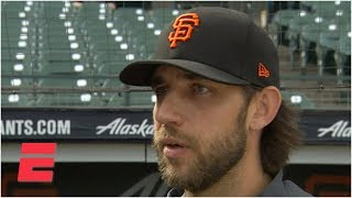 Madison Bumgarner's wife plays catch with him on his off days | MLB on ESPN