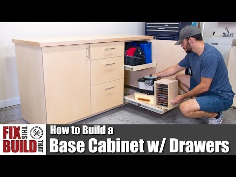 How to Build a Base Cabinet with Drawers | DIY Shop Storage
