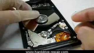 Laptop hard drive stuck heads to platter