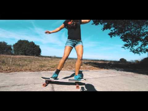 Longboard with Neena on the Original Skateboards Arbiter LCD