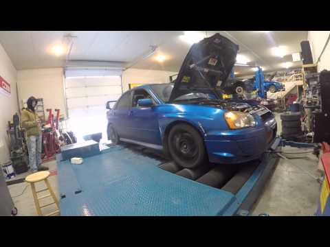 04 sti dyno at srd in Fargo, stock block, tomei arms turbo, 1000cc dw side feed 95%duty cycle