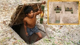 Build The Most Beautiful Secret Underground Bamboo House By Ancient Skills