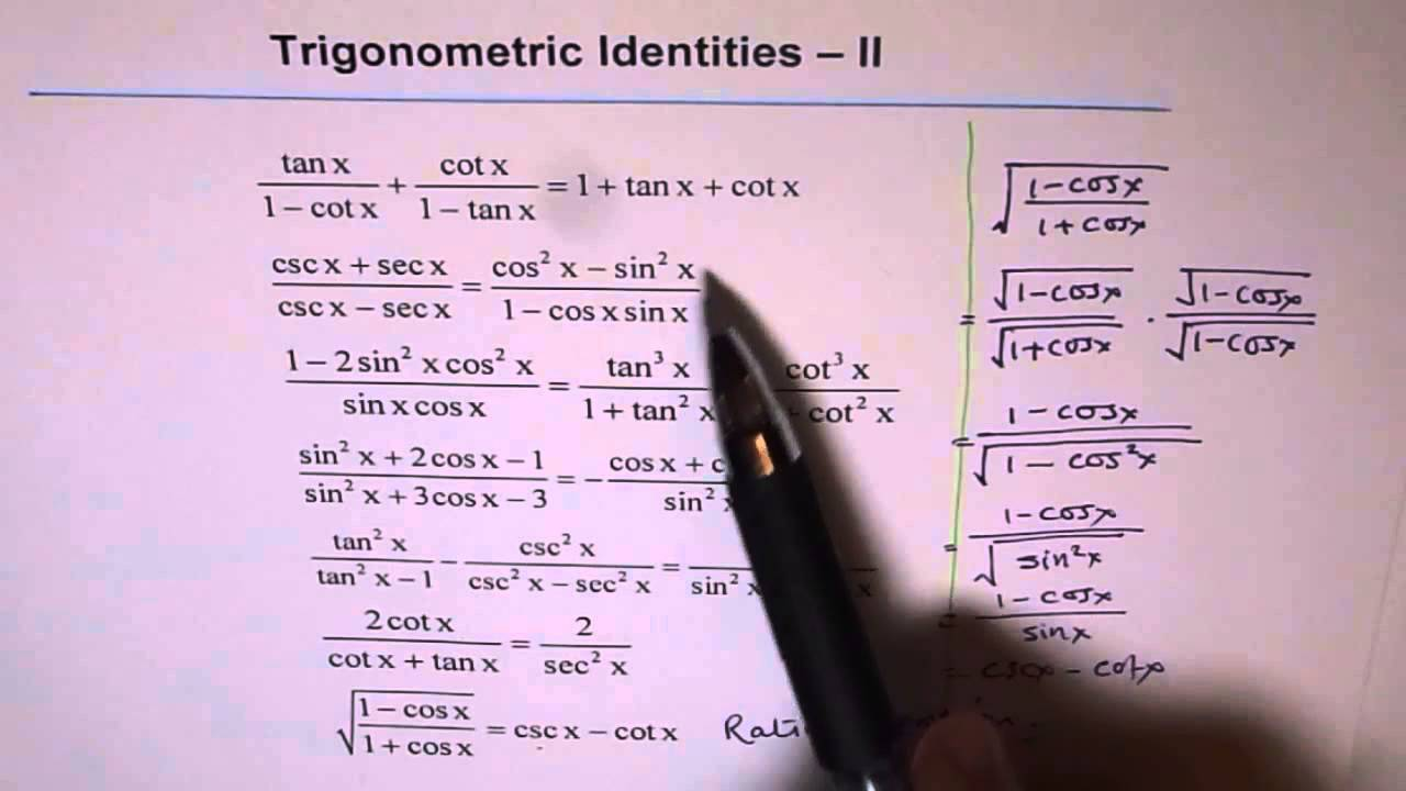 Trigonometric Identities Worksheet 2 - YouTube