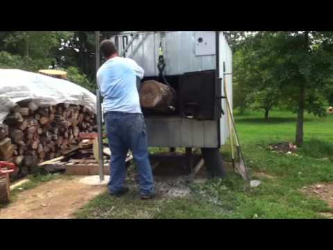 Home made outdoor wood boiler log lift