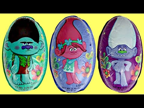 TROLLS Movie Chocolate Eggs with Poppy, Branch & Guy Diamond