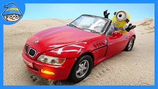 The Minions are driving a BMW car. Story of Toy Cars and Minions.