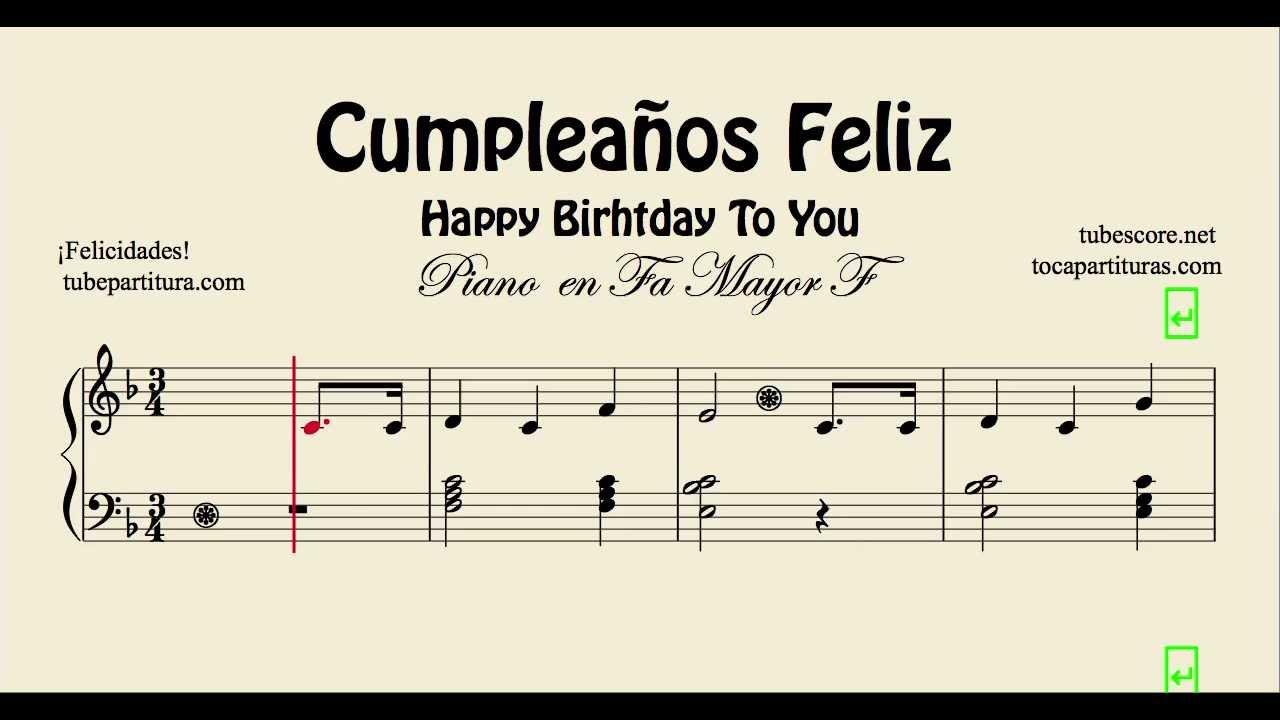 Cumplea os feliz partitura f cil de piano en fa mayor happy birthday youtube - Cumpleanos feliz piano ...