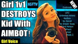 Black Ops 2 Kid Gets DESTROYED By Girl With UNFAIR AIMBOT! (Girl Voice Trolling) 1v1 Aimbot!