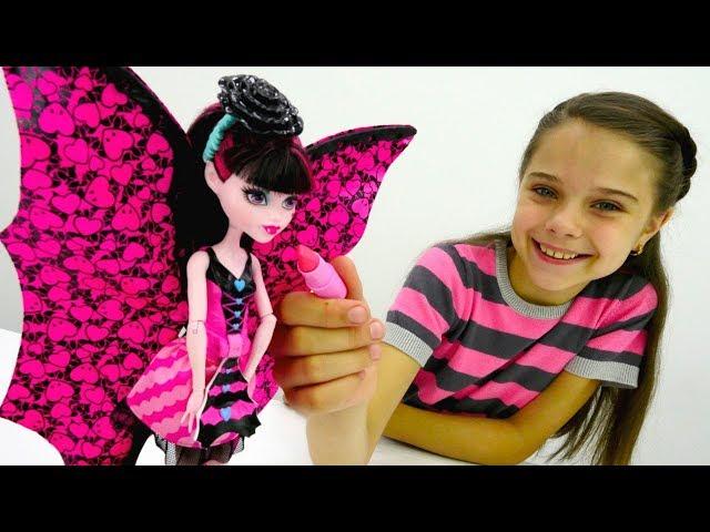 #МонстрХай *Аня собирает Дракулауру на концерт* #ИгрыДляДевочек Макияж Прическа #Куклы