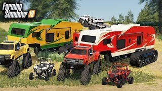 """FS19- CAMPING WITH NEW $120,000 TRACKED CAMPER & NEW """"DODGEZILLA"""" (MULTIPLAYER)"""