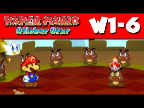 Paper Mario Sticker Star - Gameplay Walkthrough World 1-6 - Goomba Fortress (Nintendo 3DS)