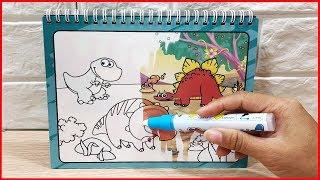 Đồ chơi sách ma thuật thần kì, tô màu khủng long bằng nước trắng, Magic water book (Chim Xinh)