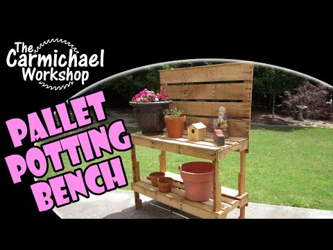 Build a Garden Potting Bench Using Recycled Pallets for FREE