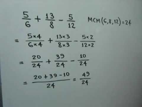 Suma y resta de fracciones heterogeneas (Parte 2 de 2)