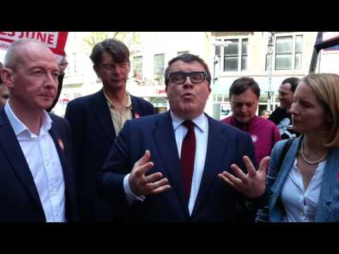 Tom Watson on the Labour EU battlebus in Wolverhampton
