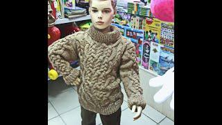 """Вязание детского свитера цвета """"кофе"""" с косами. Knitting of a children's sweater of coffee color."""
