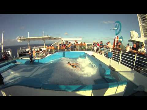 Royal Caribbean Flowrider Crashes With Nipple Slip video