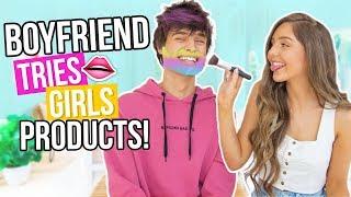 BOYFRIEND TRIES GIRLS PRODUCTS! / Guys VS. Makeup Challenge!!