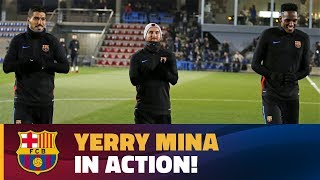 Yerry Mina's first training session with FC Barcelona