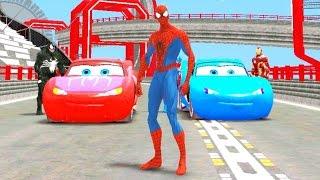 Toy Racing Cars - Hoạt hình ô tô đồ chơi nhiều màu nhào lộn - Người nhện lái Ô tô bay by Tom Kids TV