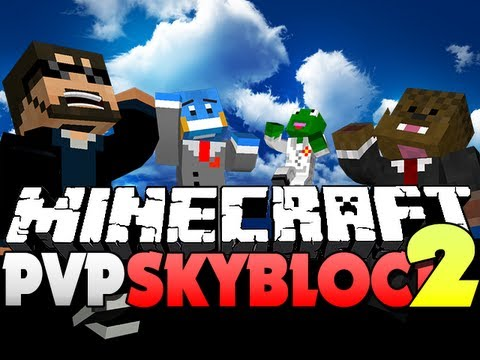 Minecraft PvP SkyBlock 2 - BOW BATTLES!! (JeromeASF, Husky, and Kermit)