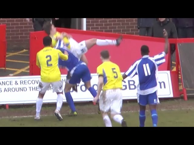Unbelievable Body Slam In A Football Game - Worcester City Vs Stockport County