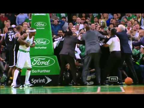 Celtics vs Nets FIGHT (Rajon Rondo vs Kris Humphries)
