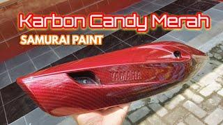 Celup Karbon Cover Knalpot Yamaha Mio Soul GT Candy Red Samurai Paint