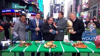 Tim Tebow Faces Off Against Joe Montana in Football Food Fight  1/31/14  (Sports)