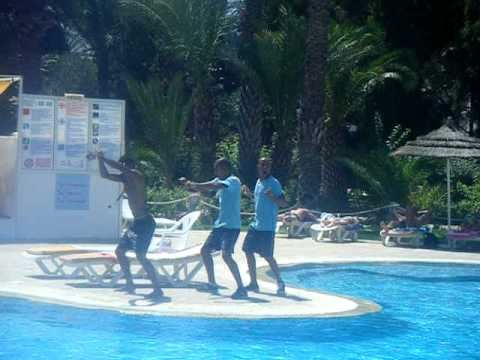 The Animation Team at Hotel Marhaba Salem Dancing after Aqua...