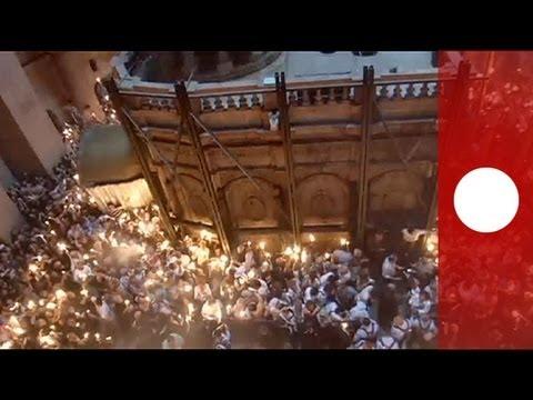 holy fire ceremony in jerusalem ushers in orthodox
