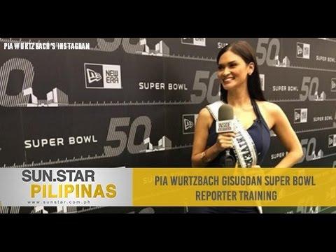Pia Wurtzbach gisugdan Super Bowl reporter training